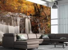 XXL Fotótapéta - Autumn landscape: waterfall in forest